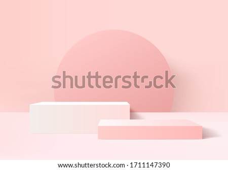 Background vector 3d pink rendering with podium and minimal pink Stage scene, minimal abstract background 3d rendering abstract geometric shape for product pink pastel. Stage pink for product in moder