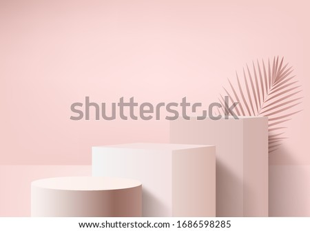 Background vector 3d pink rendering with podium and minimal pink wall scene, minimal abstract background 3d rendering abstract geometric shape pink pastel. podium pink 3d for product modern