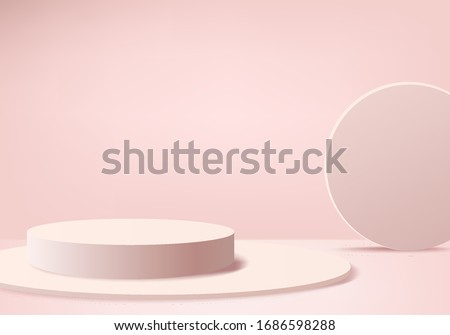 Background vector 3d pink rendering with podium and minimal pink wall scene, minimal abstract background 3d rendered abstract geometric shape pink pastel color. Stage render for awards in background.