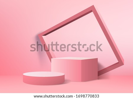 Background vector 3d pink rendering with podium and minimal pink wall scene, minimal abstract background 3d rendering abstract geometric shape pink pastel color. Stage for cube product in modern.