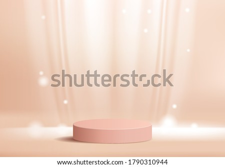 Background vector 3d pink rendering with podium and minimal silk wall scene, minimal abstract background 3d rendering abstract geometric shape pink pastel color. Stage for product on website in modern