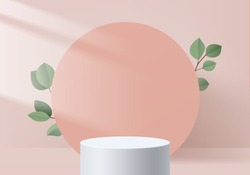 Background vector 3d pink scene rendering with podium and minimal pink valentine scene platform, stage background 3d rendering abstract love pink pastel platform. scene 3d for show product cosmetic