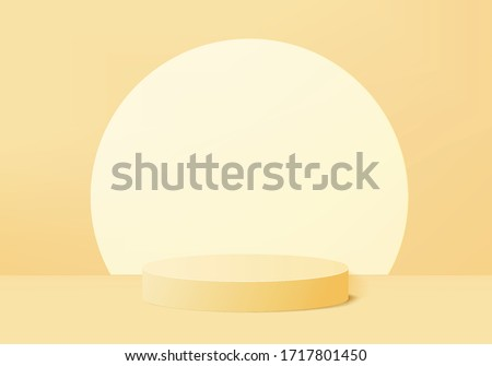 Background vector 3d yellow rendering with podium and minimal product scene, minimal abstract background 3d rendering geometric shape product yellow pastel color. Stage for product awards in modern.