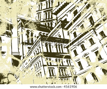 Background vector illustration of high buildings and grunge