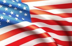Background waving in the wind American flag. Background for patriotic national design. Vector illustration EPS10