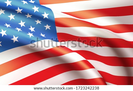 Background waving in the wind American flag. Background for patriotic national design. Vector illustration EPS10 stock photo