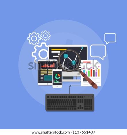 Background web design website development. Network concept information interface data symbol. Technology business work management on computer. SEO internet content icon vector. Global service analysis