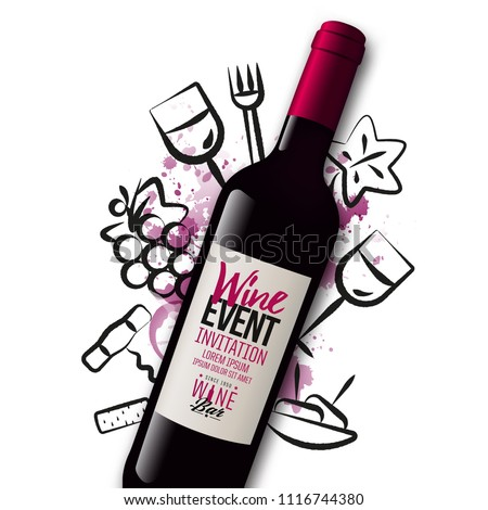 Background wine icons drawn with strokes. Wine bottle illustration. Red wine stains background. Idea for wine event, tasting, party with food and drink. Vector.