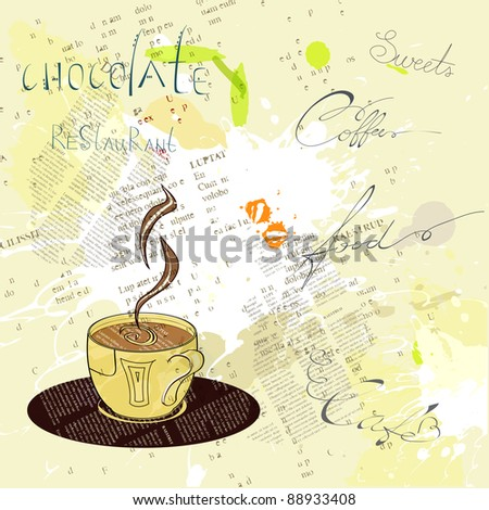 Background with a cup of coffee - stock vector