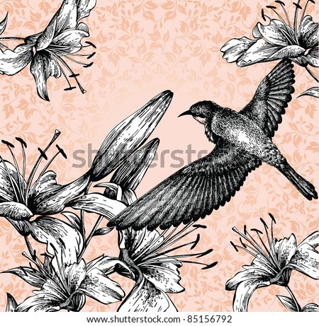 Background with a flying bird and blooming lilies hand drawing. vector
