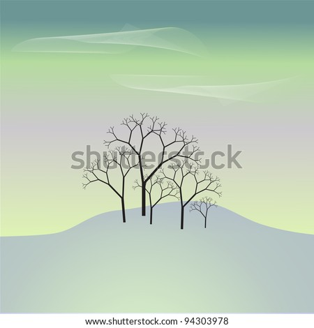 background with a grove on a snowy hill