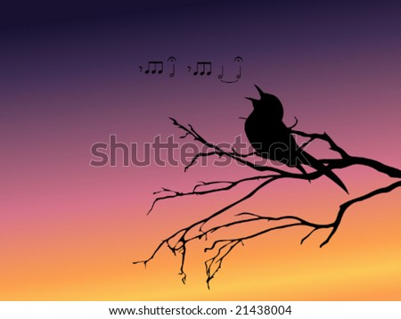Background with a silhouette of a singing bird vector; a JPG version