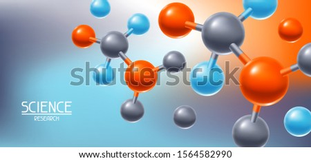 Background with abstract molecules or atoms. Science or medical molecular structure.