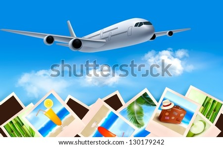 Background with airplane and with photos from holidays. Travel concept. Vector - stock vector
