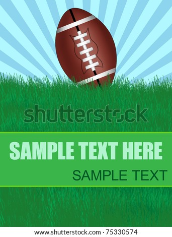 Background with american football ball on green grass with copy-space, vector illustration