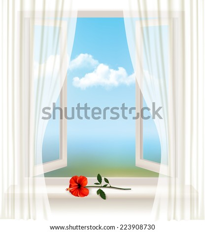 background with an open window