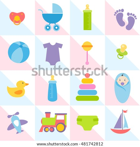 background with baby boy elements