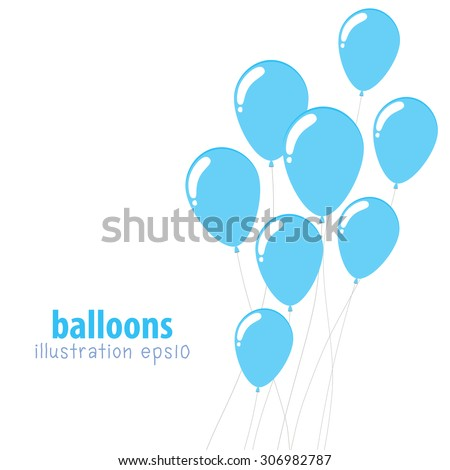 Background with balloons, Party balloons with space for text, Flat color