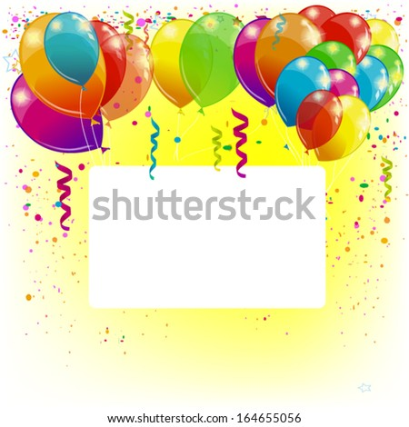 Background with balloons with white frame for text