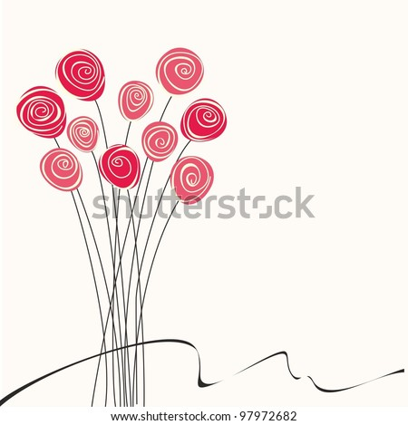 Background with beautiful flowers. Vector illustration with red roses.