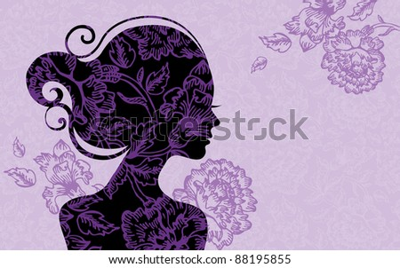 Background with beautiful girl silhouette