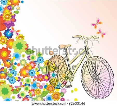 Background with bicycle and beautiful flowers, vector illustration