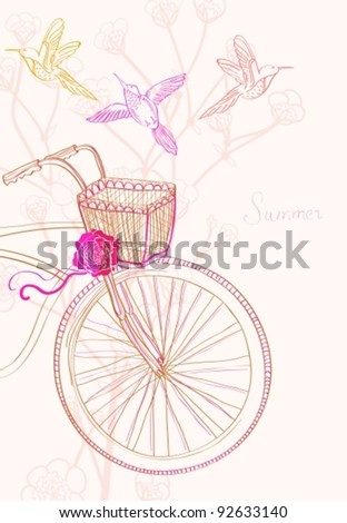 Background with bicycle and birds, vector illustration - stock vector