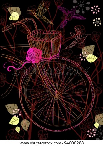 Background with bicycle and flowers,vector  illustration