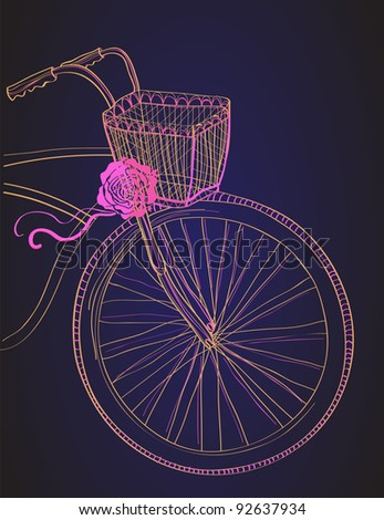 Background with bicycle and rose,vector illustration