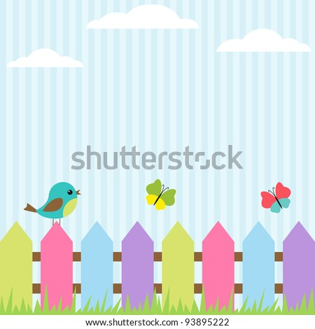Background with bird and flying butterflies