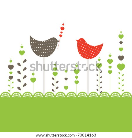 Background with birds in love. Vector illustration