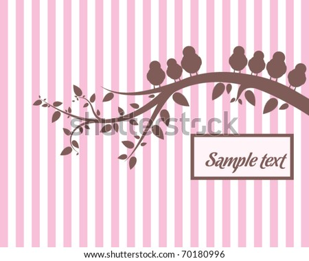 Background with birds on the branch