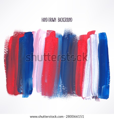 background with blue and red strokes. hand-drawn illustration