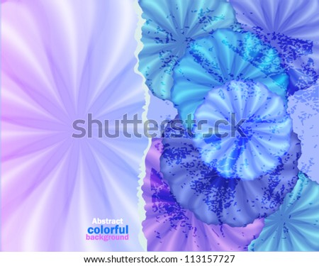 Background with blue flowers torn paper, abstract background