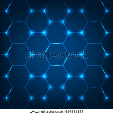 Background with blue hexagon texture