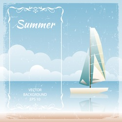 Background with boat, sea and blue sky. Vector illustration.