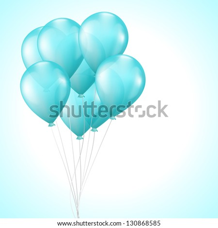 Background with bright light blue balloons - stock vector