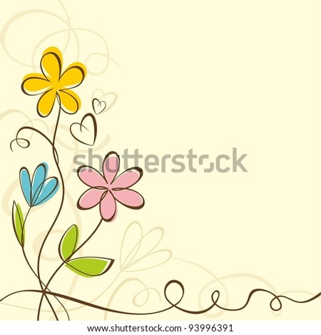 Background with bright summer flowers. Vector illustration.