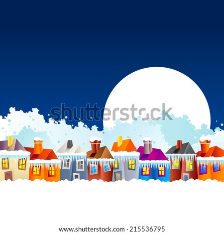 Background with cartoon village houses in winter in the snow and Christmas theme at the end of the year and New Year's Eve