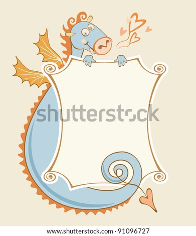 Background with cartoony cheerful dragon and banner in vector. Symbol of chinese new year 2012 . Valentines Day's card. Text box with frame