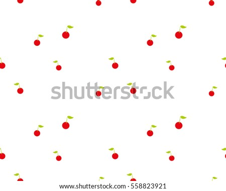 Background with cherries Wallpaper White color Vector seamless pattern #558823921