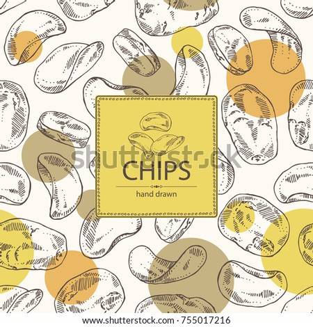 Background with chips potato and potatoes. Fast food. Vector hand drawn illustration