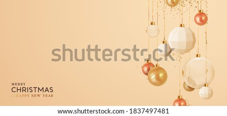 Background with Christmas balls. Realistic Xmas decorative gold round baubles hanging on ribbon, falling shiny confetti. Greeting card, banner, cover flyer poster. Merry Christmas and Happy New Year.