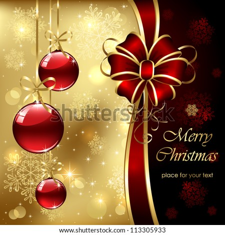 Background with Christmas baubles, bow and snowflakes, illustration.