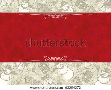 background with christmas elements and label for message,  vector illustration