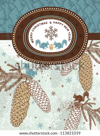 background with christmas elements and label for text message,  vector illustration