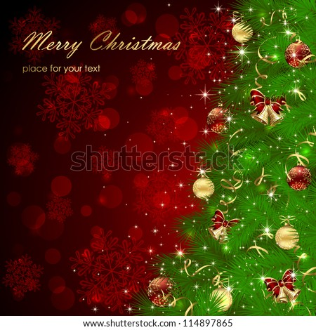 Background with Christmas tree, bells and snowflakes, illustration. - stock vector