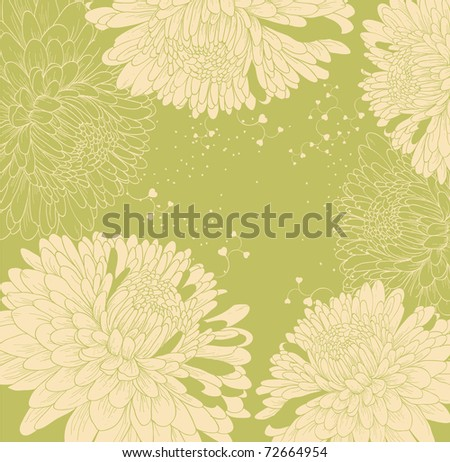 background with chrysanthemums and heart - stock vector