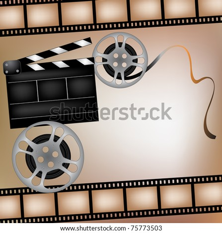 Background with cinema clapper and film