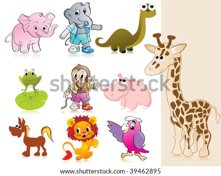 background with collection of animal - stock vector
